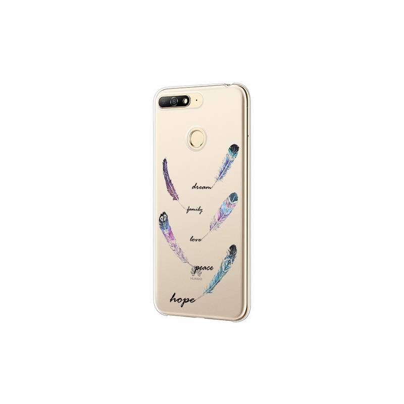 Coque transparente Huawei Y6 (2018) / Honor 7A feminine plume couleur