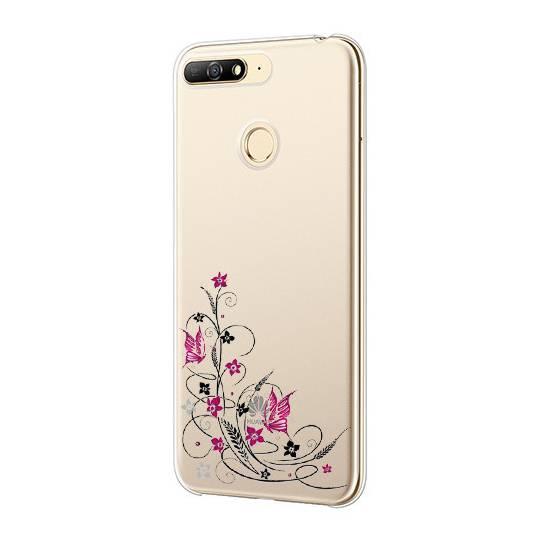 Coque transparente Huawei Y6 (2018) / Honor 7A feminine fleur papillon
