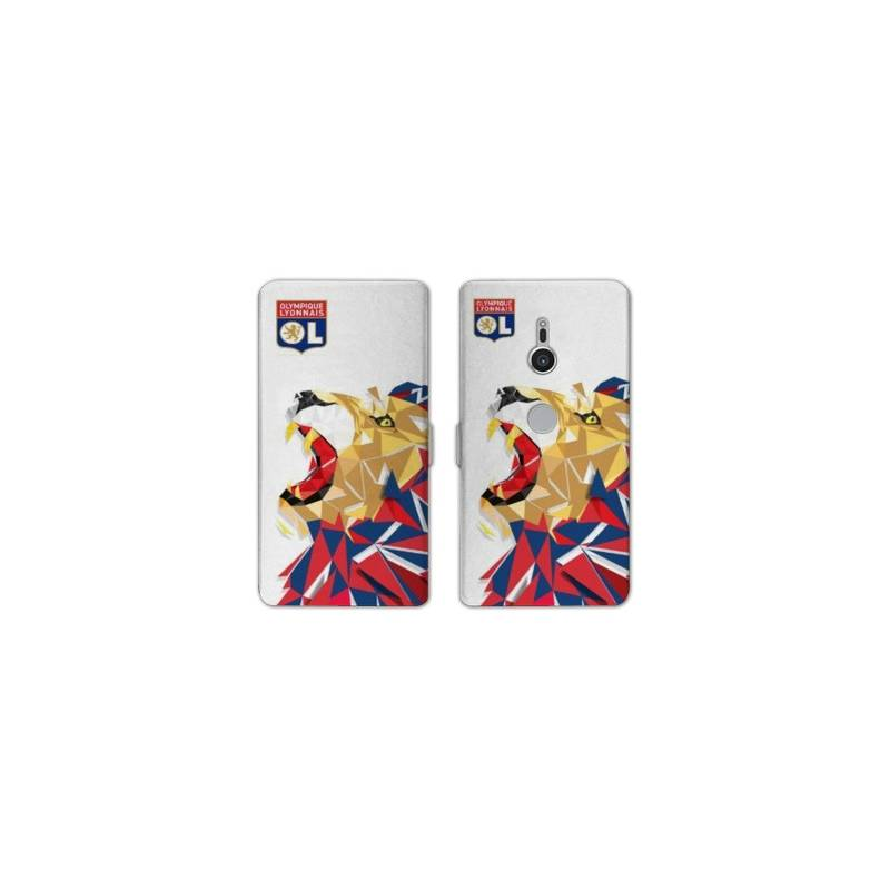 Housse cuir portefeuille Sony Xperia XZ3 License Olympique Lyonnais OL - lion color