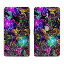 Housse cuir portefeuille Sony Xperia XZ3 Psychedelic