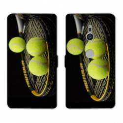 Housse cuir portefeuille Sony Xperia XZ3 Tennis