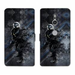 Housse cuir portefeuille Sony Xperia XZ3 pompier police