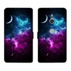 Housse cuir portefeuille Sony Xperia XZ3 Espace Univers Galaxie