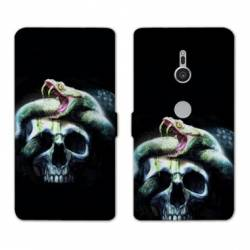 Housse cuir portefeuille Sony Xperia XZ3 reptiles