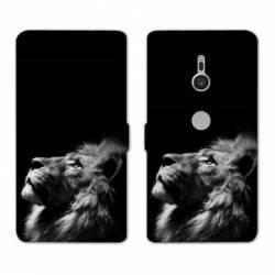 Housse cuir portefeuille Sony Xperia XZ3 felins