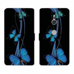 Housse cuir portefeuille Sony Xperia XZ3 papillons