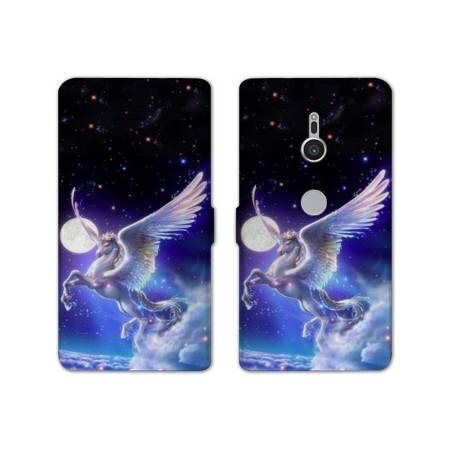 Housse cuir portefeuille Sony Xperia XZ2 Licorne