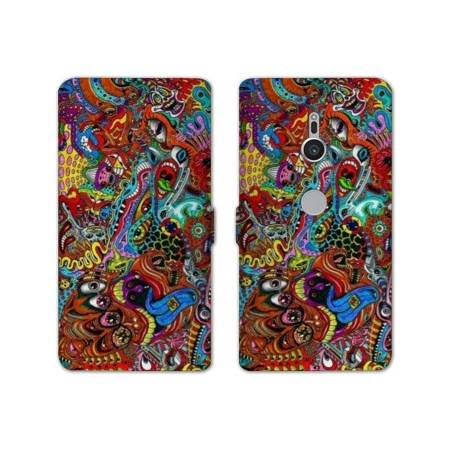 Housse cuir portefeuille Sony Xperia XZ2 Psychedelic