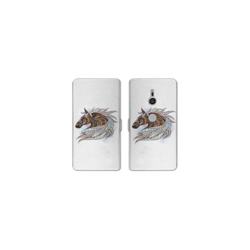 Housse cuir portefeuille Sony Xperia XZ2 Animaux Ethniques