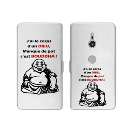 Housse cuir portefeuille Sony Xperia XZ2 Humour