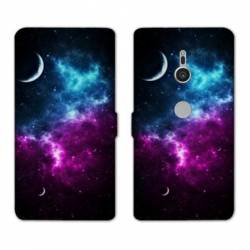 Housse cuir portefeuille Sony Xperia XZ2 Espace Univers Galaxie