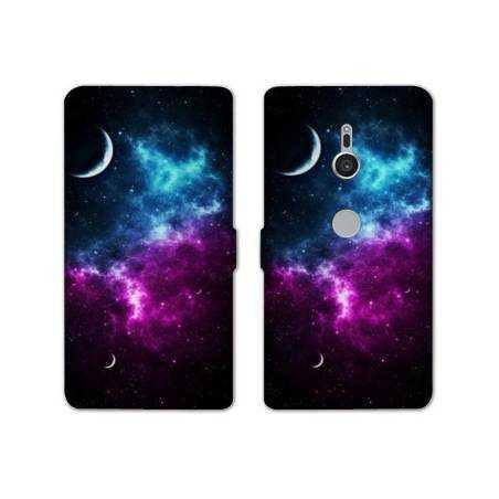 Housse cuir portefeuille Sony Xperia XZ2 Espace Univers Galaxie