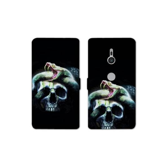 Housse cuir portefeuille Sony Xperia XZ2 reptiles