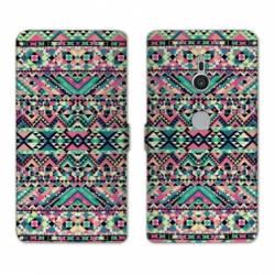 Housse cuir portefeuille Sony Xperia XZ2 motifs Aztec azteque
