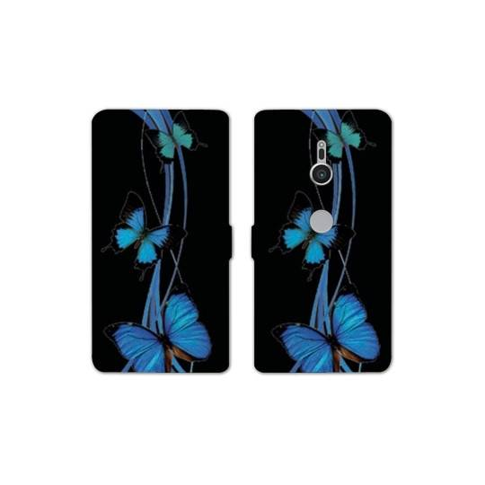 Housse cuir portefeuille Sony Xperia XZ2 papillons