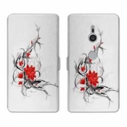 Housse cuir portefeuille Sony Xperia XZ2 fleurs
