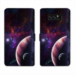 RV Housse cuir portefeuille Samsung Galaxy S10 Espace Univers Galaxie