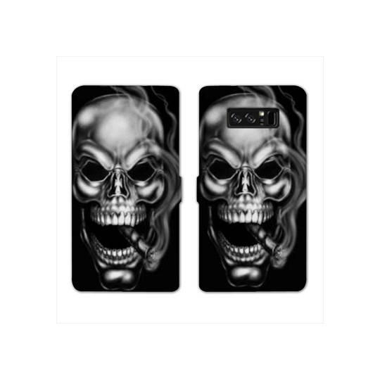 RV Housse cuir portefeuille pour Samsung Galaxy S10e tete de mort