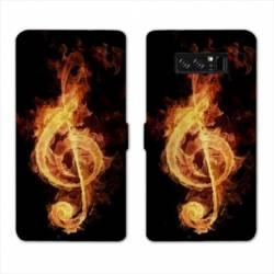RV Housse cuir portefeuille Samsung Galaxy S10e Musique