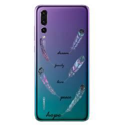 Coque transparente Huawei P30 Pro feminine plume couleur