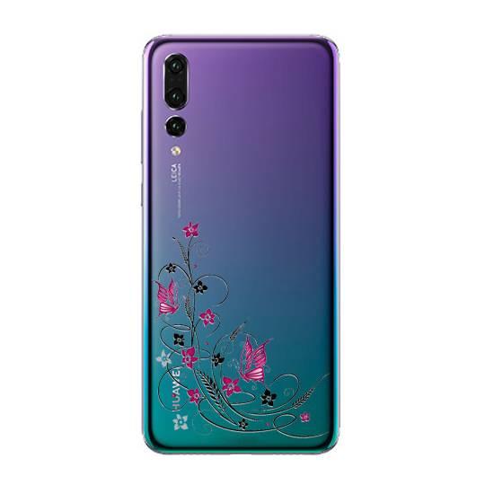Coque transparente Pour Huawei P30 Pro feminine fleur papillon