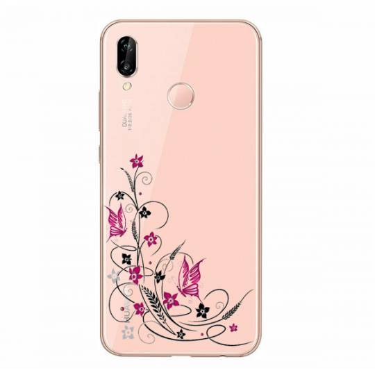 Coque transparente Huawei P30 Lite feminine fleur papillon