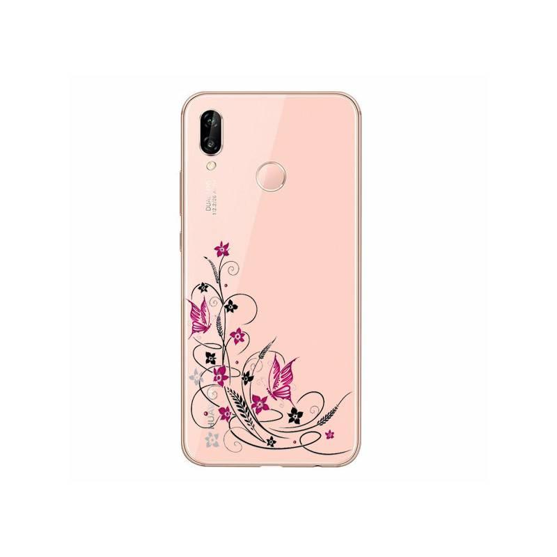 huawei p30 coque fleur rose
