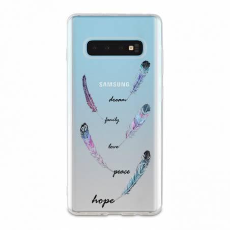 Coque transparente Samsung Galaxy S10e feminine plume couleur