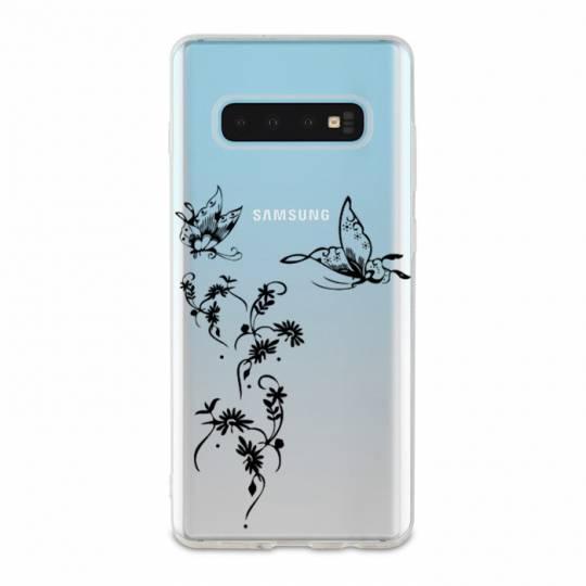 Coque transparente pour Samsung Galaxy S10e feminine envol fleur