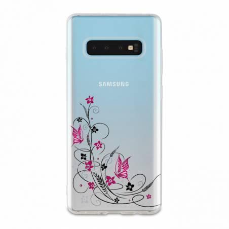 Coque transparente Samsung Galaxy S10 feminine fleur papillon