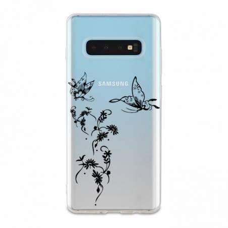 Coque transparente Samsung Galaxy S10 feminine envol fleur