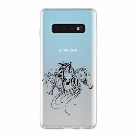 Coque transparente Samsung Galaxy S10 chevaux