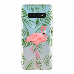 Coque transparente Samsung Galaxy S10 Plus Flamant Rose