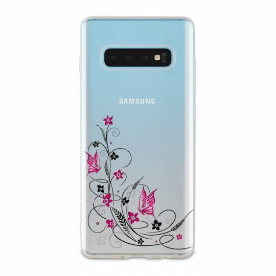 Coque transparente Samsung Galaxy S10 Plus feminine fleur papillon