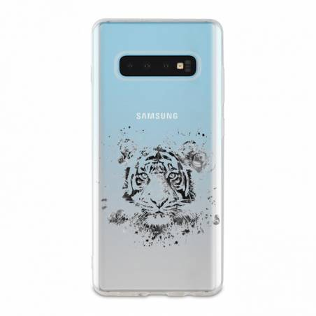 Coque transparente Samsung Galaxy S10 Plus tigre
