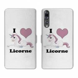 RV Housse cuir portefeuille Huawei P30 PRO Licorne