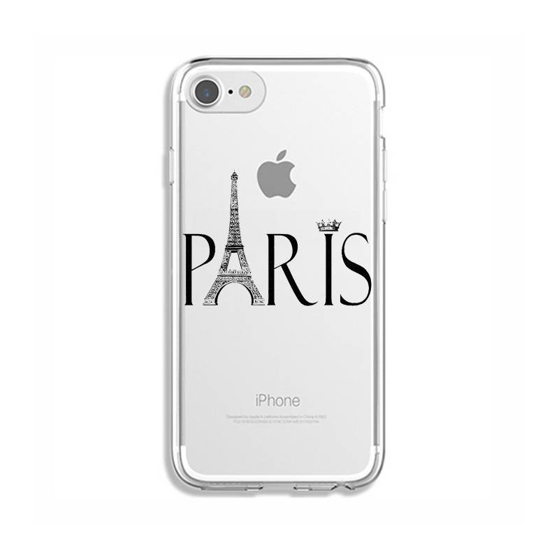 coque transparente pour iphone 6 6s paris noir