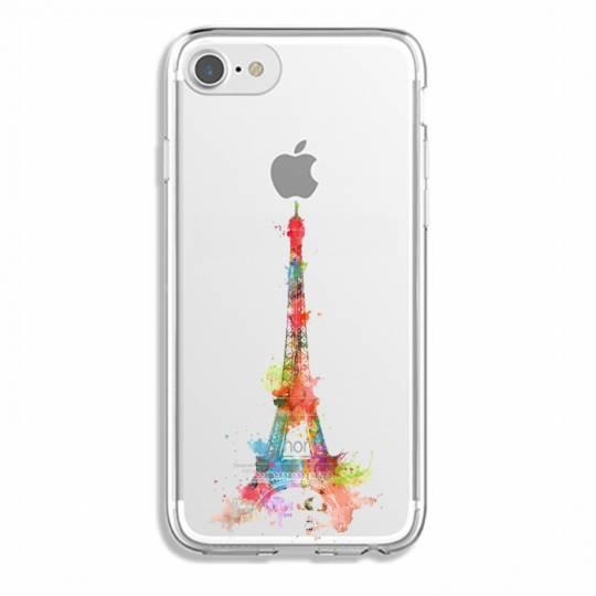 Coque transparente Iphone 7 / 8 Tour eiffel colore