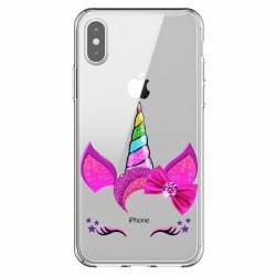 Coque transparente Iphone XR Licorne paillette