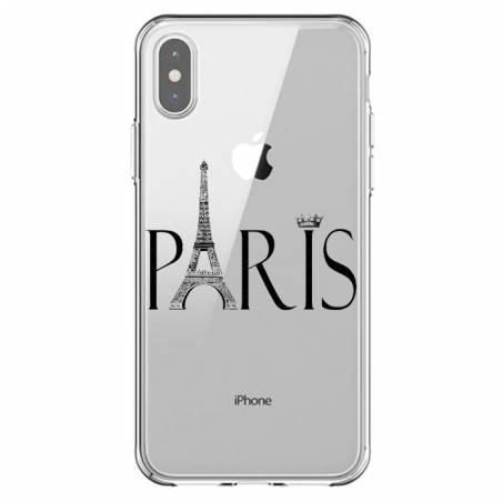 Coque transparente Iphone XS Max Paris noir