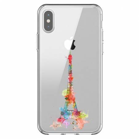 Coque transparente Iphone XS Max Tour eiffel colore