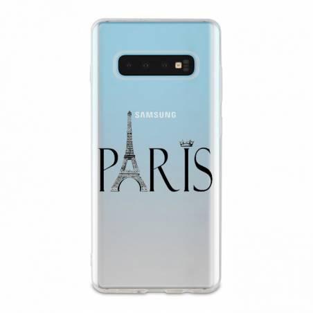 Coque transparente Samsung Galaxy S10 Plus Paris noir