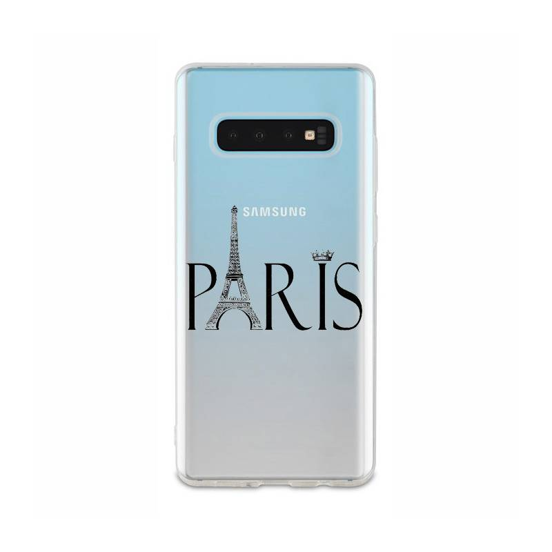 Coque transparente Samsung Galaxy S10 Plus Paris noir