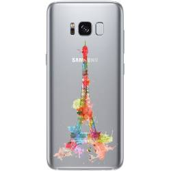 Coque transparente Samsung Galaxy S8 Plus + Tour eiffel colore