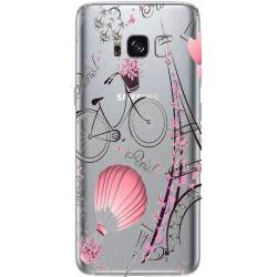 Coque transparente Samsung Galaxy S8 Plus + Paris mongolfiere