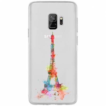 Coque transparente Samsung Galaxy S9 Tour eiffel colore