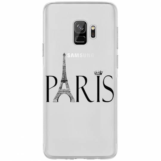 Coque transparente Samsung Galaxy S9 Paris noir