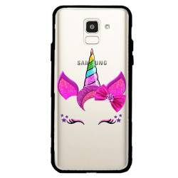 Coque transparente magnetique Samsung Galaxy J6 (2018) - J600 Licorne paillette