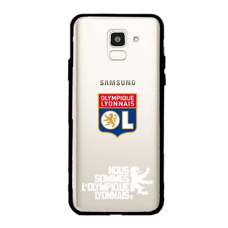 Coque transparente magnetique Samsung Galaxy J6 (2018) - J600 Licence Olympique Lyonnais - double face