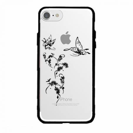 Coque transparente magnetique Apple Iphone 6 / 6s feminine envol fleur
